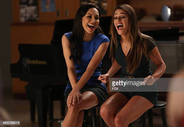 "Naya Rivera and Lea Michele in the ""New Directions"" episode of GLEE airing Tuesday, March 25, 2014 on FOX."