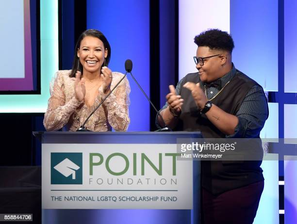 Naya Rivera and Le'Priya White onstage at Point Honors Los Angeles 2017 benefiting Point Foundation at The Beverly Hilton Hotel on October 7 2017 in...