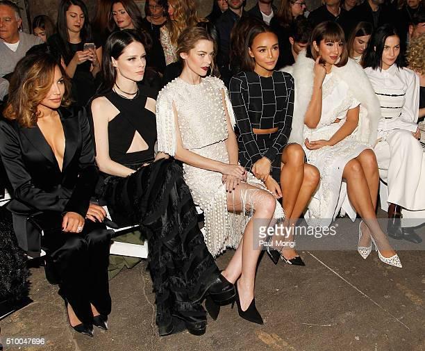 Naya Rivera Coco Rocha Jaime King Ashley Madekwe Jackie Cruz and Leigh Lezark attend the Christian Siriano Fall 2016 fashion show during New York...