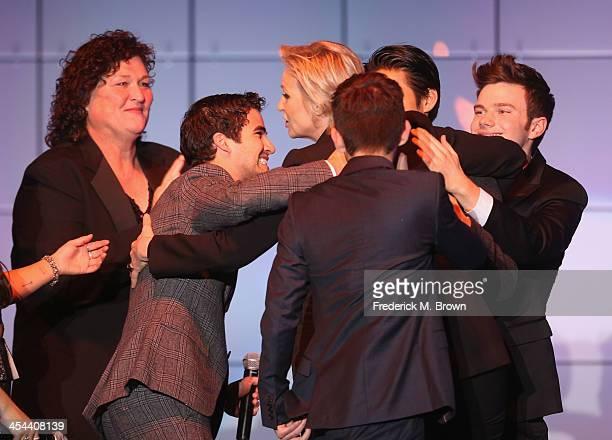 "Naya Rivera, Dot-Marie Jones, Darren Criss, Jane Lynch, Kevin McHale, Harry Shum, and Chris Colfer onstage at ""TrevorLIVE LA"" honoring Jane Lynch and..."