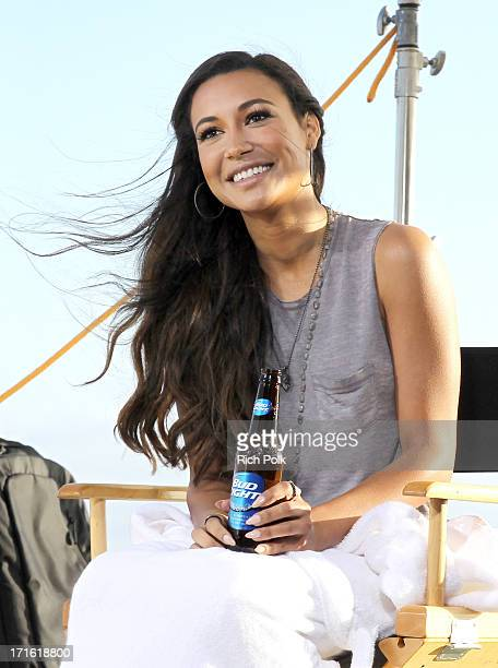 Naya Rivera films an ad for 'Bud Light Music First' in Los Angeles on June 4 2013 in Los Angeles California