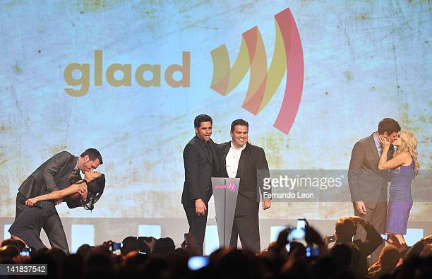 Naya Rivera, John Stamos, Cory Monteith and Megan Hilty onstage during the kiss-off auction during the 23rd Annual GLAAD Media Awards at the Marriott...