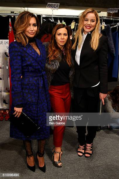 Naya Rivera Monique Lhuillier and Abbie Cornish pose backstage at the Monique Lhuillier Fall 2016 fashion show during New York Fashion Week The Shows...