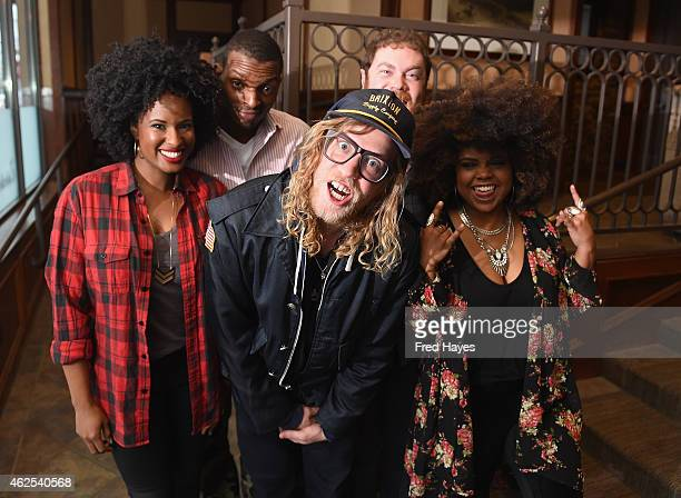 Nayanna Holley Jason Holt Allen Stone Steve Watkins and Jessica Childress of the band Allen Stone attend ASCAP Music Cafe during the 2015 Sundance...