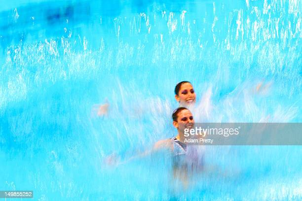 Nayara Figueira and Lara Teixeira of Brazil compete in the Women's Duets Synchronised Swimming Technical Routine on Day 9 of the London 2012 Olympic...