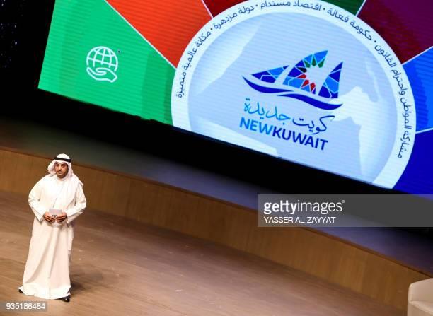 Nayef alHajraf Kuwait's Minister of Finance speaks during the 2018 Kuwait Investment Forum at Sheikh Jaber alAhmad Cultural Centre in Kuwait City on...
