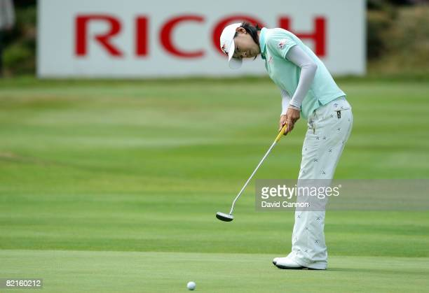 NaYeon Choi of South Korea putts for eagle at the 14th hole during the third round of the 2008 Ricoh Women's British Open Championship held on the...