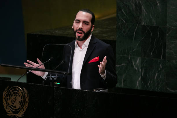 Nayib Bukele, El Salvador's president, speaks during the UN General Assembly meeting in New York, U.S., on Thursday, Sept. 26, 2019. Hot topics at...