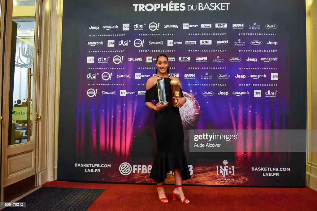 Nayo Raincock Ekunwe with her Jeep Elite All Star Team (5 Majeur) trophy and best player trophy during the Trophy Award LNB Basketball at Salle Gaveau on May 16, 2018 in Paris, France.