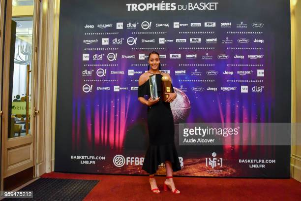 Nayo Raincock Ekunwe with her Jeep Elite All Star Team trophy and best player trophy during the Trophy Award LNB Basketball at Salle Gaveau on May 16...