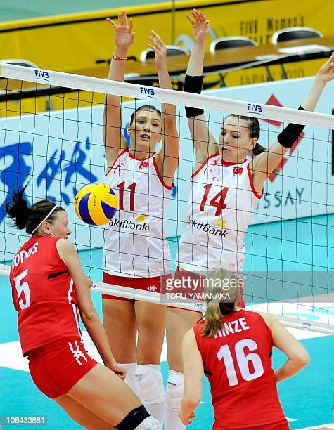 Naz Aydemir and Eda Erdem of Turkey block a spike from Tiffany Dodds and Jennifer Hinze of Canada during their first round match of the World Women's...