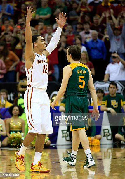Naz Long of the Iowa State Cyclones celebrates as the Cyclones defeat Brady Heslip and the Baylor Bears to win the Big 12 Basketball Tournament final...