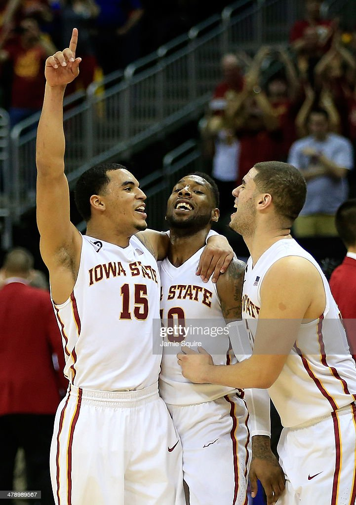 Naz Long #15 of the Iowa State Cyclones celebrates with DeAndre Kane #50 and Georges Niang #31 as the Cyclones defeat the Baylor Bears to win the Big 12 Basketball Tournament final game 74-65 at the Sprint Center on March 15, 2014 in Kansas City, Missouri.