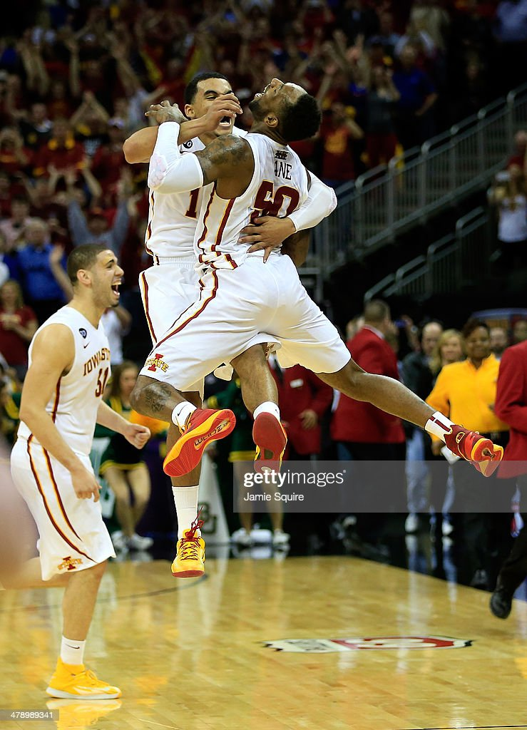 Naz Long #15 of the Iowa State Cyclones celebrates with DeAndre Kane #50 after the Cyclones defeated the Baylor Bears 74-65 to win the Big 12 Basketball Tournament final game at the Sprint Center on March 15, 2014 in Kansas City, Missouri.