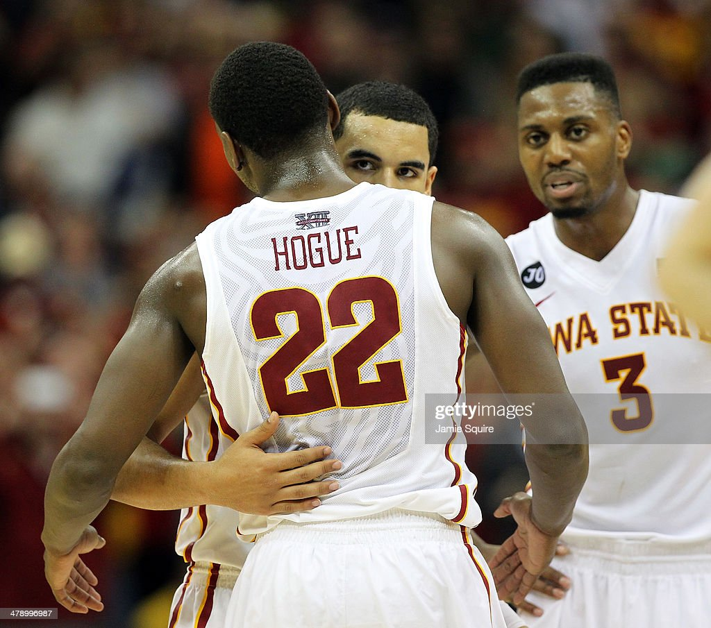 Naz Long #15 of the Iowa State Cyclones hugs Dustin Hogue #22 as the Cyclones defeat the Baylor Bears to win the Big 12 Basketball Tournament final game 74-65 at the Sprint Center on March 15, 2014 in Kansas City, Missouri.