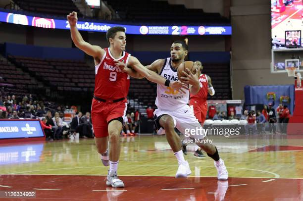 Naz MitrouLong of the Salt Lake City Stars drives with the ball against Dusty Hannahs of the Memphis Hustle during an NBA GLeague game on February 20...