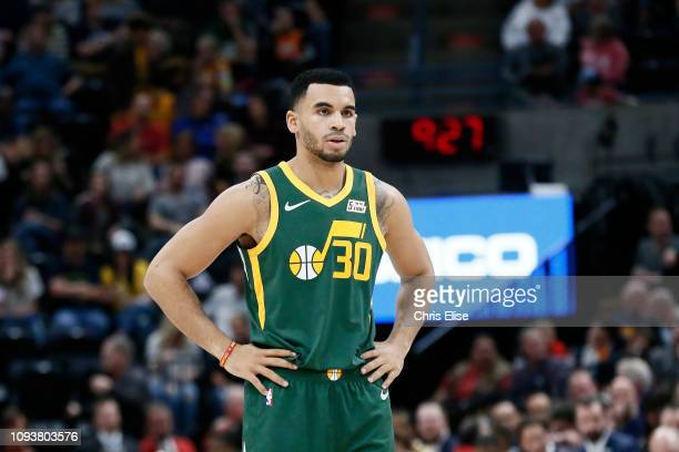 Naz MitrouLong of the Utah Jazz looks on against the Houston Rockets on February 2 2019 at Vivint Smart Home Arena in Salt Lake City Utah NOTE TO...