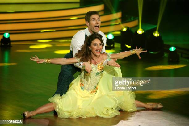 "Nazan Eckes and Christian Polanc perform during the 3rd show of the 12th season of the television competition ""Let's Dance"" on April 05, 2019 in..."