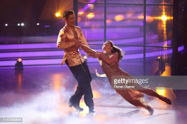 "Nazan Eckes and Christian Polanc perform on stage during the 4th show of the 12th season of the television competition ""Let's Dance"" on April 12,..."