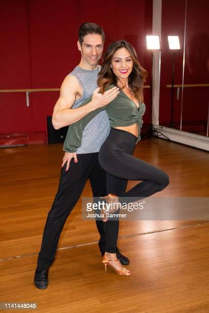 Nazan Eckes and Christian Polanc pose at a photo call for the television competition 'Let's Dance' before their training session on April 09, 2019 in...
