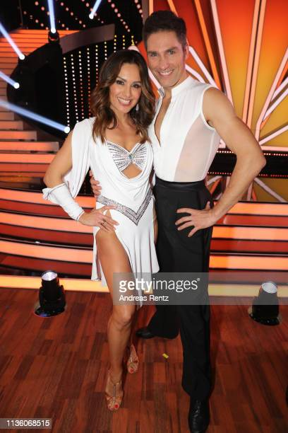 "Nazan Eckes and Christian Polanc pose for a photograph during the pre-show ""Wer tanzt mit wem? Die grosse Kennenlernshow"" of the television..."