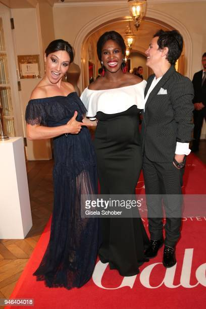 Nazan Eckes and her sister and manager Belgin Uengoer and Motsi Mabuse during the Gala Spa Awards at Brenners ParkHotel Spa on April 14 2018 in...