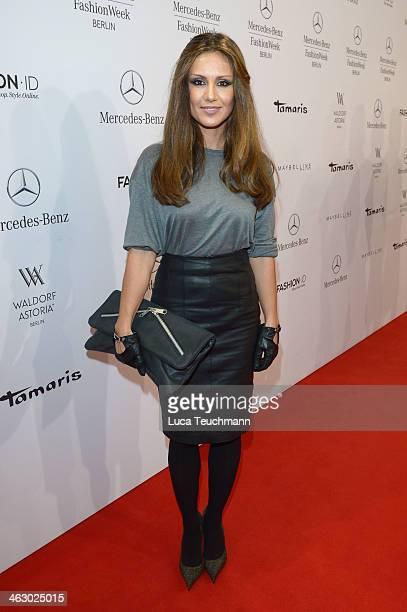 Nazan Eckes arrives for the Guido Maria Kretschmer Show during MercedesBenz Fashion Week Autumn/Winter 2014/15 at Brandenburg Gate on January 16 2014...
