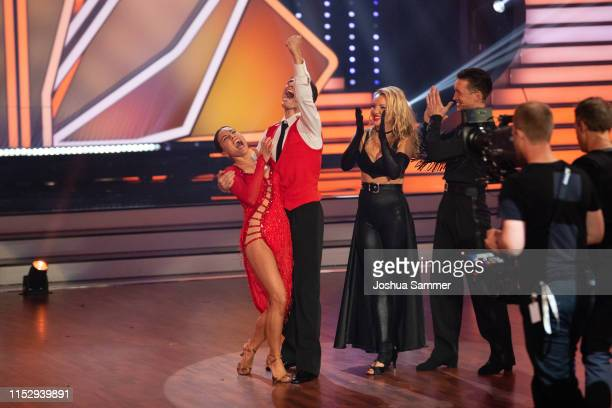 "Nazan Eckes, Christian Polanc, Evelyn Burdecki and Evgeny Vinokurov during the 10th show of the 12th season of the television competition ""Let's..."