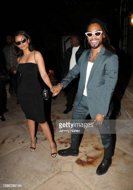 Nazanin Mandi and Miguel attend the Academy Award and MultiGrammy Nominee Ludwig Göransson's Grammy Celebration on February 7 2019 in Los Angeles...
