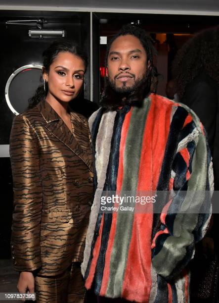 Nazanin Mandi and Miguel attend the Sony Music Entertainment 2019 PostGrammy Reception at NeueHouse Hollywood on February 10 2019 in Los Angeles...