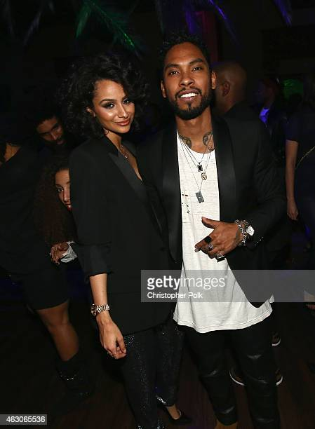 Nazanin Mandi and singersongwriter Miguel attend the I am Other And Adidas' Grammy Party To Celebrate Pharrell Williams at Park Plaza Hotel on...