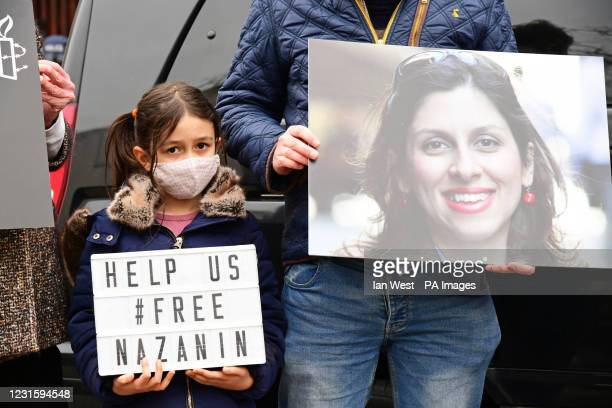 Nazanin Zaghari-Ratcliffe's daughter Gabriella at a protest outside the Iranian Embassy in London. Ms Zaghari-Ratcliffe has completed a near...
