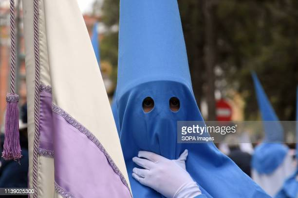 Nazarene seen during the parade Easter Parade 2019 Hospitalet A parade typical of Spain where Christian parishioners go through its streets with...
