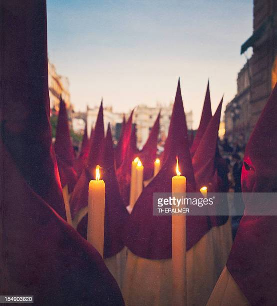 nazarenes during holy week - holy week stock pictures, royalty-free photos & images