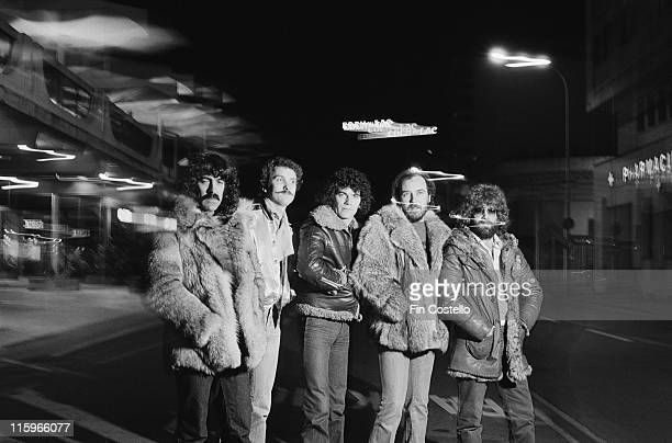 Nazareth British hard rock band pose wearing heavy jackets and fur coats for a group portait in Montreux Switzerland 1978