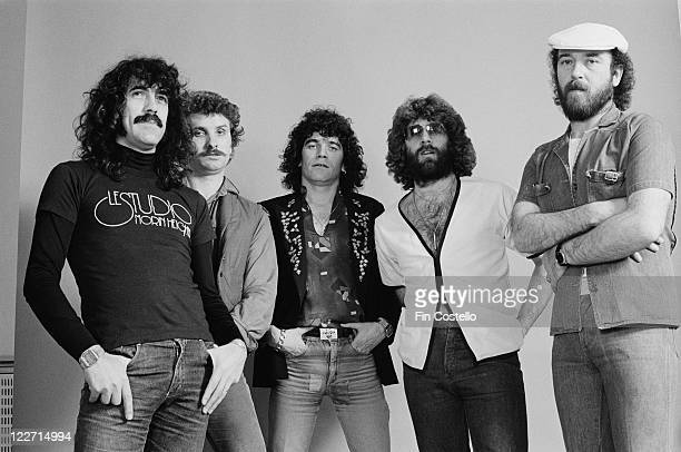 Nazareth British rock band pose for a group studio portrait against a light background at Shepperton Studios in Shepperton Surrey England United...