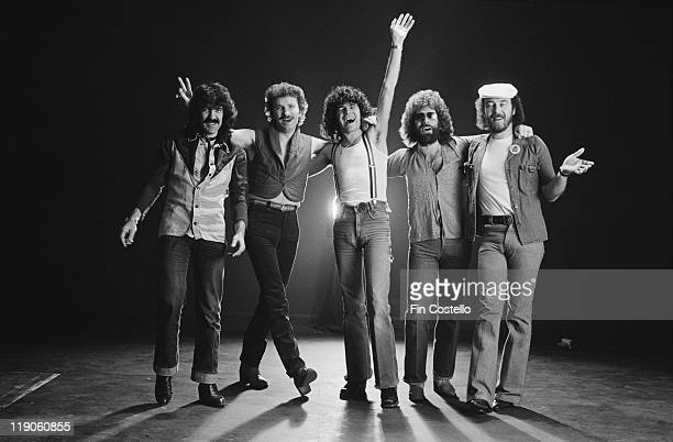 Nazareth British rock band pose for a group studio portrait in January 1979