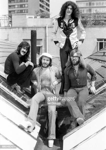 Nazareth group portrait on a rooftop in Kingly Court London in 1975 LR Manny Charlton Pete Agnew Dan McCafferty Darrell Sweet