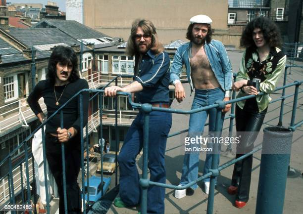 Nazareth group portrait on a rooftop in Kingly Court London in 1975 LR Manny Charlton Darrell Sweet Pete Agnew Dan McCafferty
