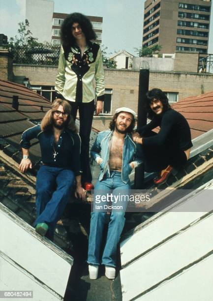 Nazareth group portrait on a rooftop in Kingly Court London in 1975 LR Darrell Sweet Dan McCafferty Pete Agnew Manny Charlton