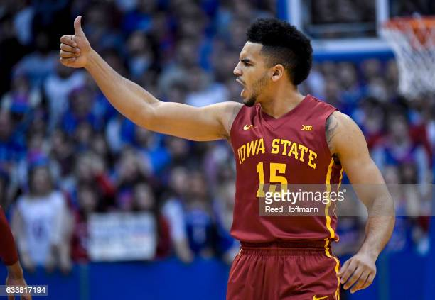 Nazareth MitrouLong of the Iowa State Cyclones cheers his team on against the Kansas Jayhawks early in the first half on February 4 2017 at Allen...