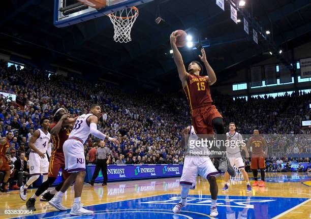 Nazareth MitrouLong of the Iowa State Cyclones goes up for two points against the Kansas Jayhawks on February 4 2017 at Allen Field House in Lawrence...