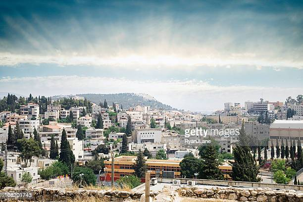 nazareth sunrise cityscape - historical palestine stock pictures, royalty-free photos & images