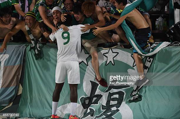 Nazarit of FC Gifu celebrates his 2nd goal with the supporters during the J League 2nd division match between Thespakusatsu Gunma and FC Gifu at...