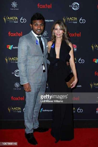 Nazeem Hussain and Kat Stewart attend the 2018 AACTA Awards Presented by Foxtel | Industry Luncheon at The Star on December 3 2018 in Sydney Australia