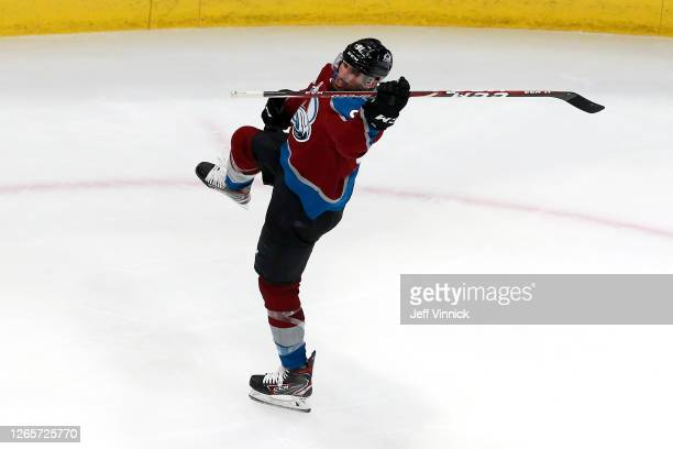 Nazem Kadri of the Colorado Avalanche celebrates after scoring a goal on Darcy Kuemper of the Arizona Coyotes during the third period in Game One of...