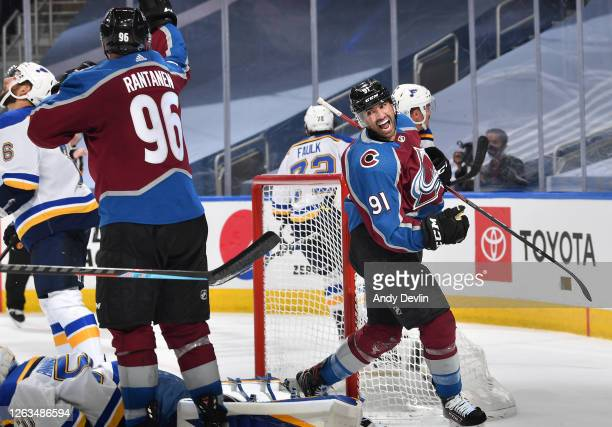 Nazem Kadri of the Colorado Avalanche reacts after Kadri scored a goal with 0.1 seconds remaining in the third period of the Round Robin game against...