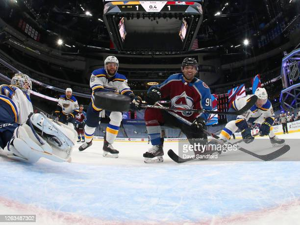 Nazem Kadri of the Colorado Avalanche reacts as the puck bounces back out of the net for a goal with less than one second remaining in the third...