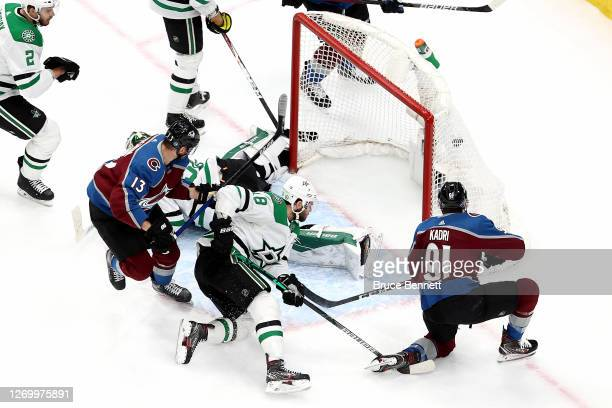 Nazem Kadri of the Colorado Avalanche scores a goal past Ben Bishop of the Dallas Stars during the first period in Game Five of the Western...