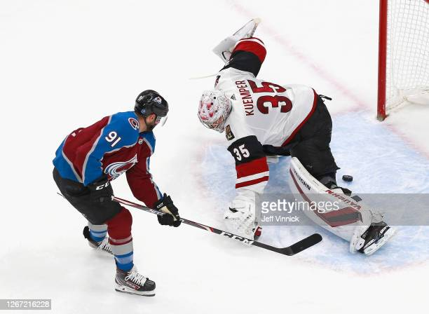 Nazem Kadri of the Colorado Avalanche scores his second goal of the first period against Darcy Kuemper of the Arizona Coyotes at 18:32 of the first...